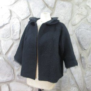 Grace Chuang Black Wool Blend Boucle Look Jacket